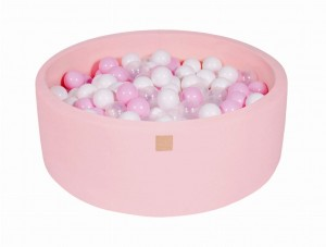 MeowBaby® Foam Round Ball Pit with 200 Balls 7 cm Baby Ball Pool, light pink