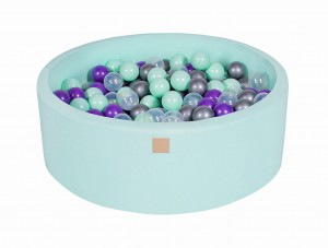 MeowBaby® Foam Round Ball Pit with 200 Balls 7 cm Baby Ball Pool, mint