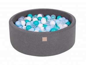 MeowBaby® 90x30cm, 200 Balls 7cm Baby Foam Round Ball Pit Certified Made In EU, dark grey: white, transparent, turquoise, babyblue