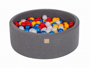 MeowBaby® 90x30cm, 200 Balls 7cm Baby Foam Round Ball Pit Certified Made In EU, dark grey: red, yellow, pearl white, pearl blue