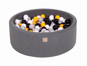 MeowBaby® 90x30cm, 200 Balls 7cm Baby Foam Round Ball Pit Certified Made In EU, dark grey: grey, white, black, yellow