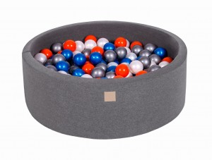 MeowBaby® 90x30cm, 200 Balls 7cm Baby Foam Round Ball Pit Certified Made In EU, dark grey: pearl blue, pearl white, orange, silver