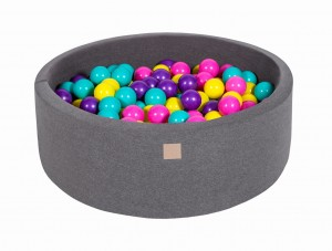 MeowBaby® 90x30cm, 200 Balls 7cm Baby Foam Round Ball Pit Certified Made In EU, dark grey: violet, dark pink, lime, turquoise