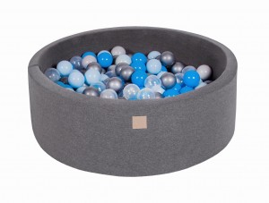 MeowBaby® 90x30cm, 200 Balls 7cm Baby Foam Round Ball Pit Certified Made In EU, dark grey: blue, transparent, babyblue, silver, grey