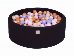 MeowBaby® 90x30cm, 200 Balls 7cm Baby Foam Round Ball Pit Certified Made In EU, black: gold, beige, pastel pink, lila