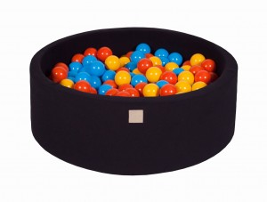 MeowBaby® 90x30cm, 200 Balls 7cm Baby Foam Round Ball Pit Certified Made In EU, black: yellow, orange, blue