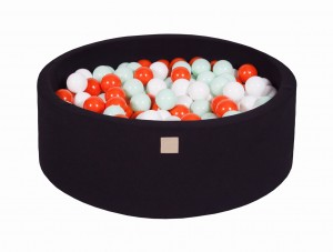 MeowBaby® 90x30cm, 200 Balls 7cm Baby Foam Round Ball Pit Certified Made In EU, black: mint, orange, white