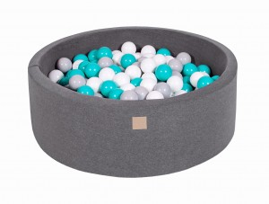 MeowBaby® 90x30cm, 200 Balls 7cm Baby Foam Round Ball Pit Certified Made In EU, dark grey: white, grey, turquoise
