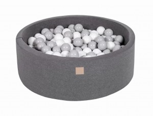 MeowBaby® 90x30cm, 200 Balls 7cm Baby Foam Round Ball Pit Certified Made In EU, dark grey: grey, white
