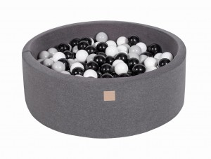 MeowBaby® 90x30cm, 200 Balls 7cm Baby Foam Round Ball Pit Certified Made In EU, dark grey: black, grey, white