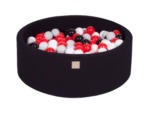 MeowBaby® 90x30cm, 200 Balls 7cm Baby Foam Round Ball Pit Certified Made In EU, black: black, grey, red, white