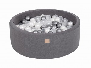 MeowBaby® 90x30cm, 200 Balls 7cm Baby Foam Round Ball Pit Certified Made In EU, dark grey: white pearl, silver, transparent