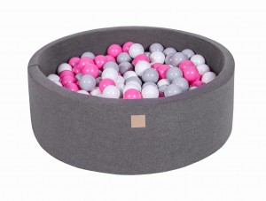 MeowBaby® 90x30cm, 200 Balls 7cm Baby Foam Round Ball Pit Certified Made In EU, dark grey: grey, white, light pink