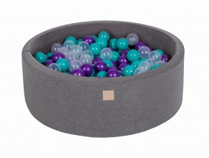 MeowBaby® 90x30cm, 200 Balls 7cm Baby Foam Round Ball Pit Certified Made In EU, dark grey: turquoise, violet, transparent