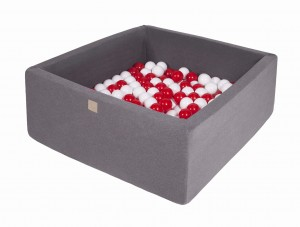 MeowBaby® 90x90x40cm, 200 Balls 7cm Baby Foam Square Ball Pit Certified Made In EU, dark grey: white, red