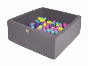 MeowBaby® 90x90x40cm, 200 Balls 7cm Baby Foam Square Ball Pit Certified Made In EU, dark grey: violet, dark pink, lime, turquoise
