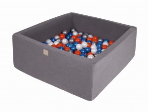 MeowBaby® 90x90x40cm, 200 Balls 7cm Baby Foam Square Ball Pit Certified Made In EU, dark grey: pearl blue, pearl white, orange, silver