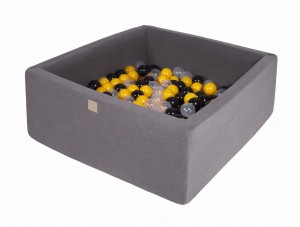 MeowBaby® 90x90x40cm, 200 Balls 7cm Baby Foam Square Ball Pit Certified Made In EU, dark grey: yellow, black, transparent