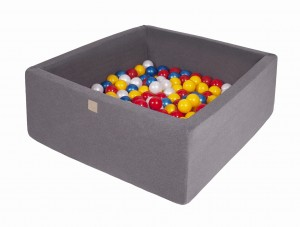 MeowBaby® 90x90x40cm, 200 Balls 7cm Baby Foam Square Ball Pit Certified Made In EU, dark grey: red, yellow, pearl white, pearl blue