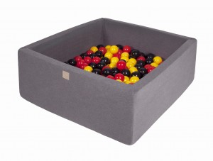 MeowBaby® 90x90x40cm, 200 Balls 7cm Baby Foam Square Ball Pit Certified Made In EU, dark grey: yellow, red, black