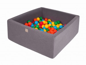 MeowBaby® 90x90x40cm, 200 Balls 7cm Baby Foam Square Ball Pit Certified Made In EU, dark grey:yellow, red, dark green, orange, blue