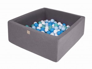 MeowBaby® 90x90x40cm, 200 Balls 7cm Baby Foam Square Ball Pit Certified Made In EU, dark grey: white, blue, turquoise, babyblue