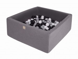 MeowBaby® 90x90x40cm, 200 Balls 7cm Baby Foam Square Ball Pit Certified Made In EU, dark grey: grey, white, black