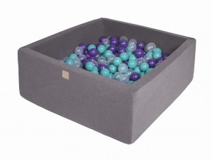 MeowBaby® 90x90x40cm, 200 Balls 7cm Baby Foam Square Ball Pit Certified Made In EU, dark grey: turquoise, violet, transparent