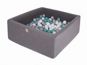 MeowBaby® 90x90x40cm, 200 Balls 7cm Baby Foam Square Ball Pit Certified Made In EU, dark grey: turquoise, grey, white