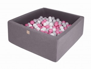 MeowBaby® 90x90x40cm, 200 Balls 7cm Baby Foam Square Ball Pit Certified Made In EU, dark grey: grey, white, light pink