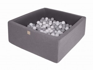 MeowBaby® 90x90x40cm, 200 Balls 7cm Baby Foam Square Ball Pit Certified Made In EU, dark grey: grey, white