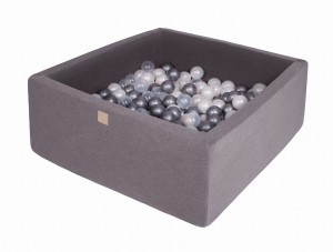 MeowBaby® 90x90x40cm, 200 Balls 7cm Baby Foam Square Ball Pit Certified Made In EU, dark grey: pearl white, silver, transparent