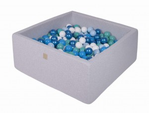 MeowBaby® 90x90x40cm, 200 Balls 7cm Baby Foam Square Ball Pit Certified Made In EU, light grey: babyblue, blue, turquoise, white, pearl blue