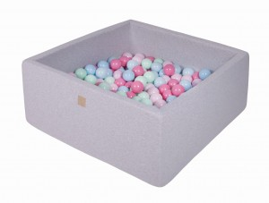 MeowBaby® 90x90x40cm, 200 Balls 7cm Baby Foam Square Ball Pit Certified Made In EU, light grey: babyblue, mint, light pink, pastel pink