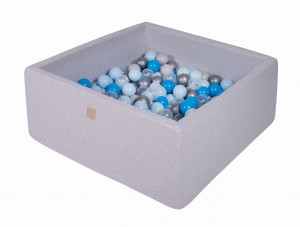 MeowBaby® 90x90x40cm, 200 Balls 7cm Baby Foam Square Ball Pit Certified Made In EU, light grey: babyblue, white, blue, turquoise, pearl blue
