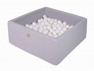 MeowBaby® 90x90x40cm, 200 Balls 7cm Baby Foam Square Ball Pit Certified Made In EU, light grey: All white