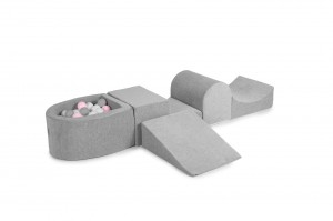 MeowBaby® Foam Playset with Ball Pit + 100 Balls: grey, white, pastel pink